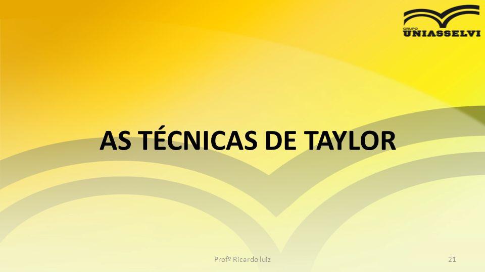 AS TÉCNICAS DE TAYLOR Profº Ricardo luiz21
