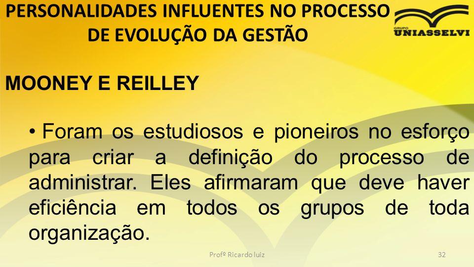 PERSONALIDADES INFLUENTES NO PROCESSO DE EVOLUÇÃO DA GESTÃO Profº Ricardo luiz32 MOONEY E REILLEY Foram os estudiosos e pioneiros no esforço para cria