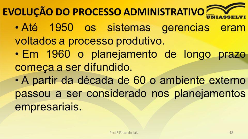 EVOLUÇÃO DO PROCESSO ADMINISTRATIVO Profº Ricardo luiz48 Até 1950 os sistemas gerencias eram voltados a processo produtivo. Em 1960 o planejamento de