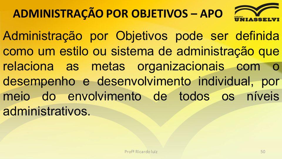 ADMINISTRAÇÃO POR OBJETIVOS – APO Profº Ricardo luiz50 Administração por Objetivos pode ser definida como um estilo ou sistema de administração que re