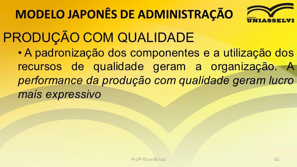 MODELO JAPONÊS DE ADMINISTRAÇÃO Profº Ricardo luiz62 PRODUÇÃO COM QUALIDADE A padronização dos componentes e a utilização dos recursos de qualidade ge