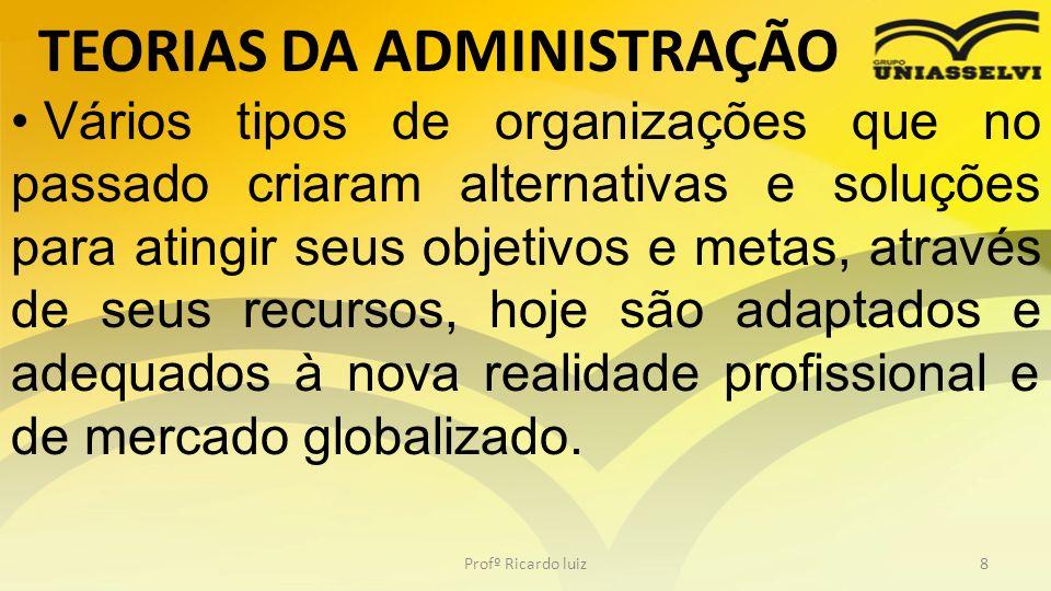 TEORIAS DA ADMINISTRAÇÃO Profº Ricardo luiz8 Vários tipos de organizações que no passado criaram alternativas e soluções para atingir seus objetivos e