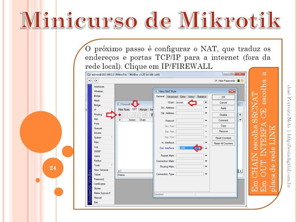 24 José Ferreira Neto | http://veiadigital.com.br O próximo passo é configurar o NAT, que traduz os endereços e portas TCP/IP para a internet (fora da