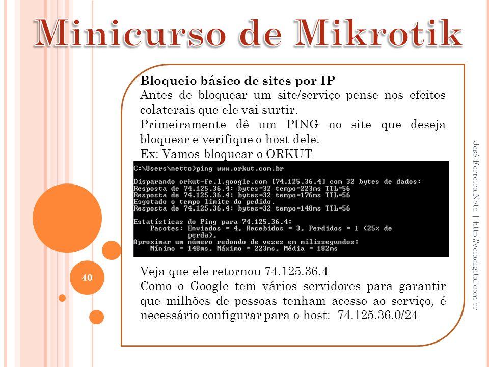 40 José Ferreira Neto | http://veiadigital.com.br Bloqueio básico de sites por IP Antes de bloquear um site/serviço pense nos efeitos colaterais que e