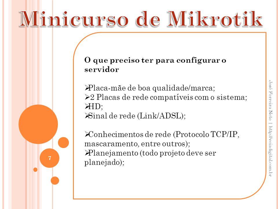 28 José Ferreira Neto   http://veiadigital.com.br Vamos criar o servidor DHCP, Primeiro vamos informar o DHCP do modem, para isso, clique em IP/DHCP CLIENT..