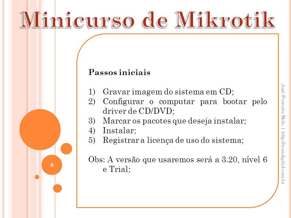 19 José Ferreira Neto   http://veiadigital.com.br Address: IP do Mikrotik/Máscara Network e Broadcast Interface: Placa que recebe o sinal de internet/red.