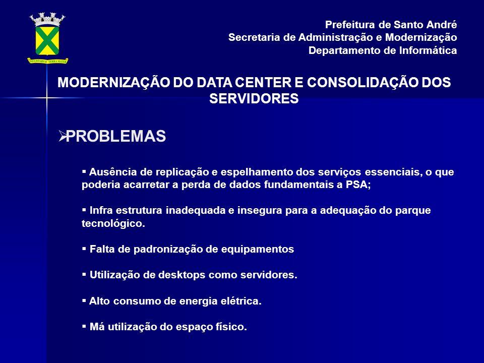 PROBLEMAS Ausência de replicação e espelhamento dos serviços essenciais, o que poderia acarretar a perda de dados fundamentais a PSA; Infra estrutura inadequada e insegura para a adequação do parque tecnológico.