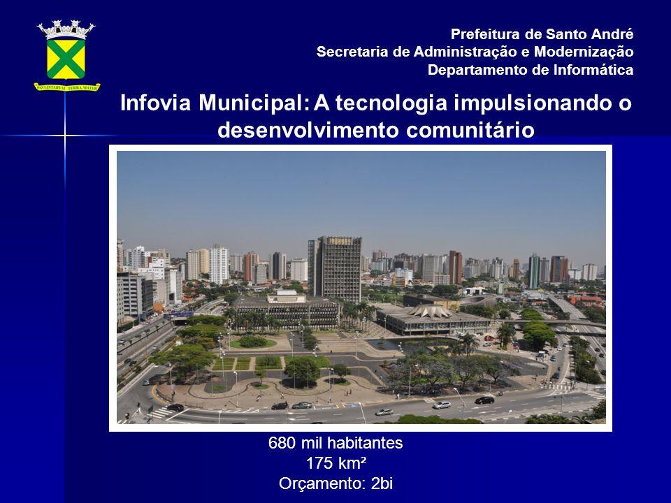 Infovia Municipal: A tecnologia impulsionando o desenvolvimento comunitário Prefeitura de Santo André Secretaria de Administração e Modernização Departamento de Informática 680 mil habitantes 175 km² Orçamento: 2bi