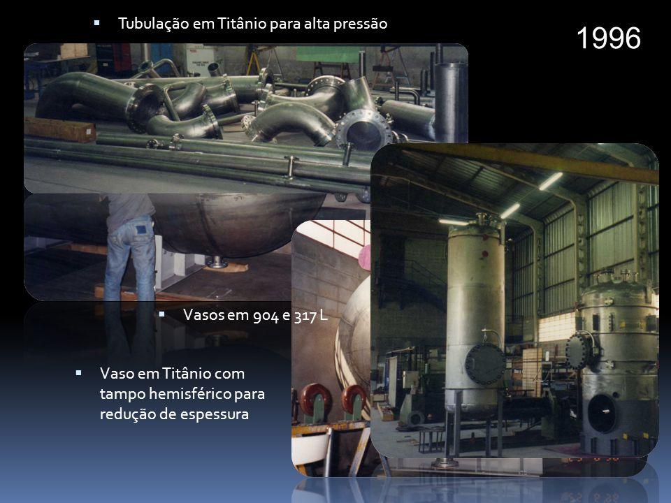 1997 Célula eletrolitica para refino de Uranio Ciclones para Petrobras Instalação de malha hexagonal