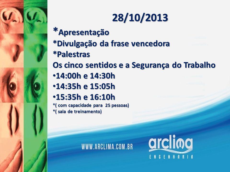 29/10/2013Palestras*HPVHora:07:30h Local: Fábrica Tarde *Serviços de Saúde bucal Local: Ambulatório