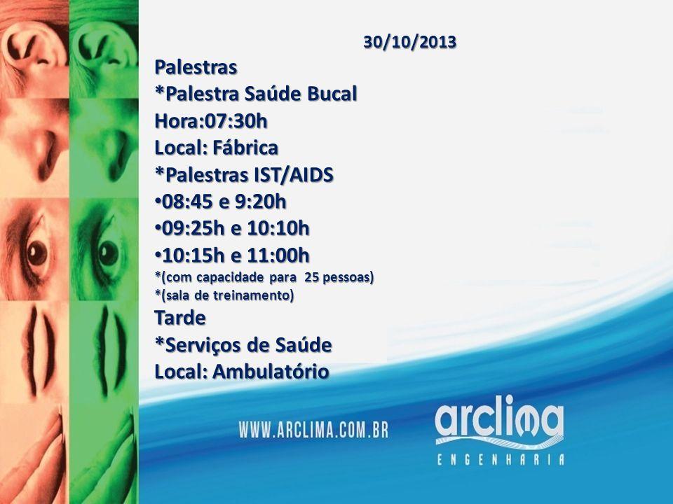 30/10/2013Palestras *Palestra Saúde Bucal Hora:07:30h Local: Fábrica *Palestras IST/AIDS 08:45 e 9:20h 08:45 e 9:20h 09:25h e 10:10h 09:25h e 10:10h 1