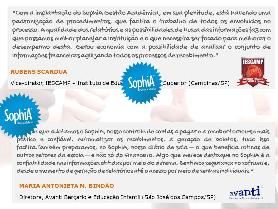 MARIA ANTONIETA M. BINDÃO Diretora, Avanti Berçário e Educação Infantil (São José dos Campos/SP) RUBENS SCARDUA Vice-diretor, IESCAMP – Instituto de E