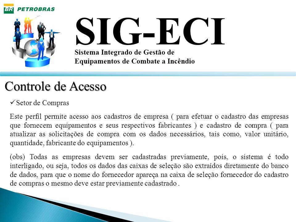 SIG-ECI Sistema Integrado de Gestão de Equipamentos de Combate a Incêndio Controle de Acesso Setor de Compras Este perfil permite acesso aos cadastros