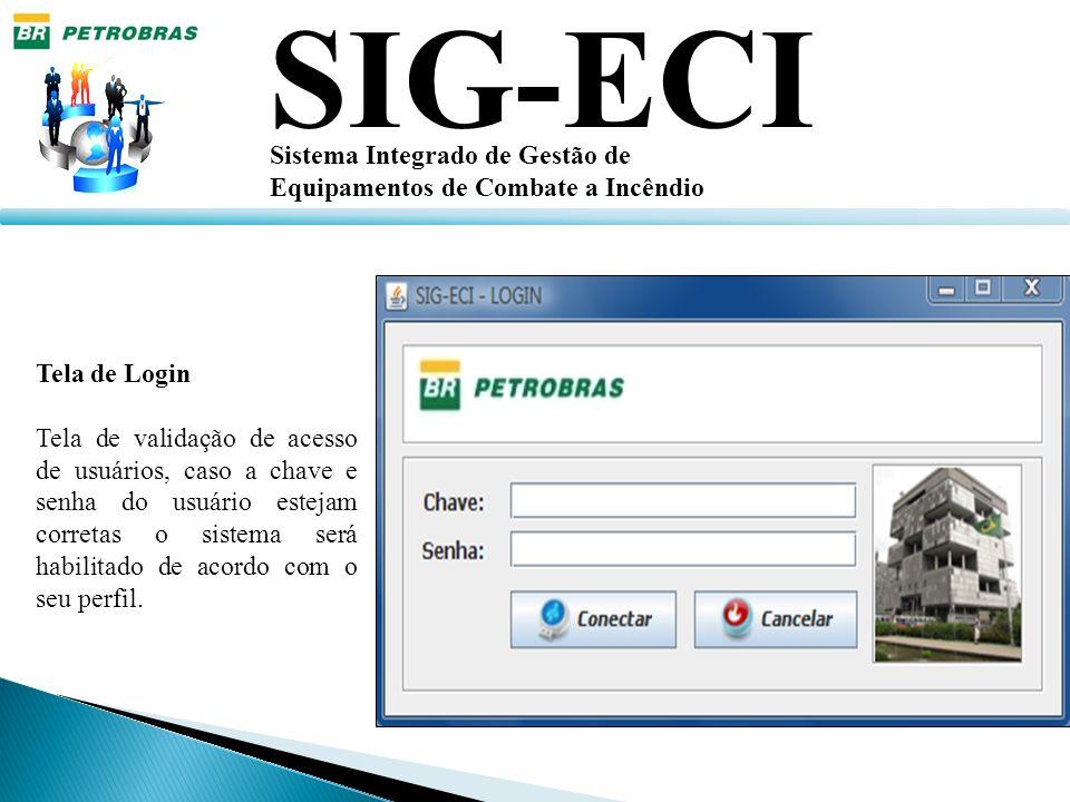 SIG-ECI Sistema Integrado de Gestão de Equipamentos de Combate a Incêndio Tela de Login Tela de validação de acesso de usuários, caso a chave e senha