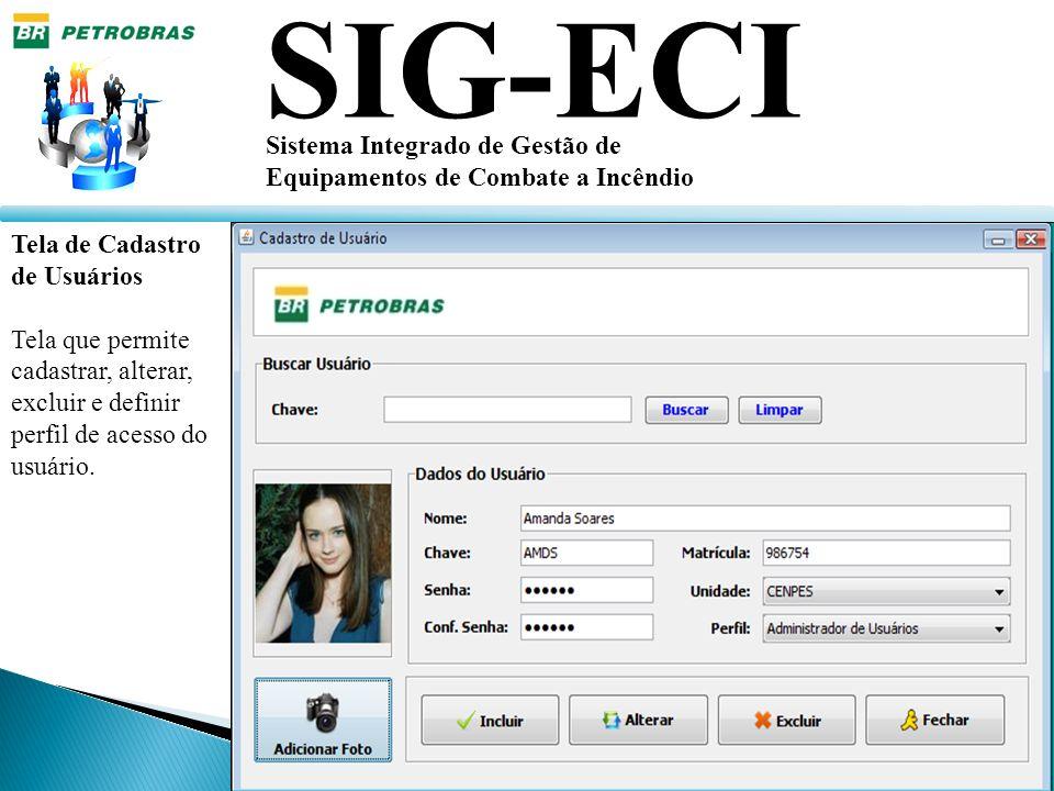 SIG-ECI Sistema Integrado de Gestão de Equipamentos de Combate a Incêndio Tela de Cadastro de Usuários Tela que permite cadastrar, alterar, excluir e