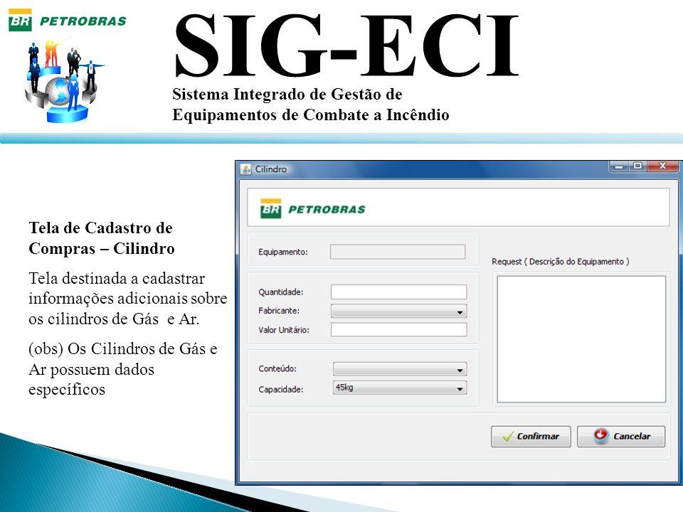 SIG-ECI Sistema Integrado de Gestão de Equipamentos de Combate a Incêndio Tela de Cadastro de Compras – Cilindro Tela destinada a cadastrar informaçõe
