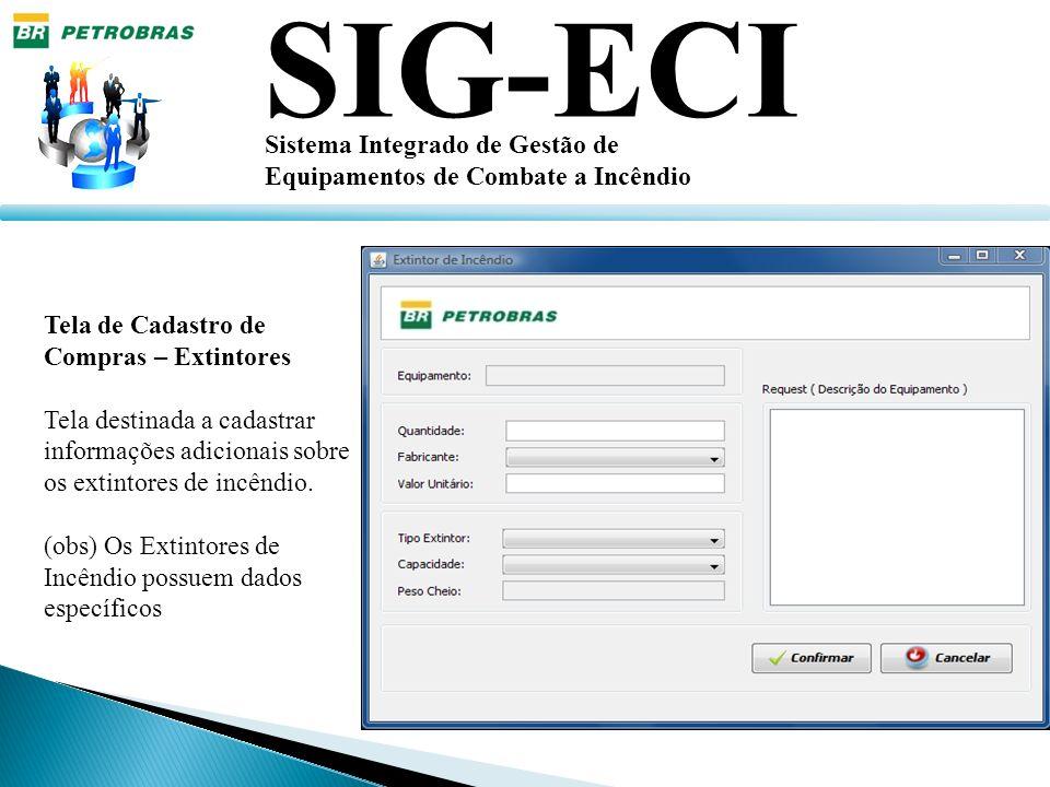 SIG-ECI Sistema Integrado de Gestão de Equipamentos de Combate a Incêndio Tela de Cadastro de Compras – Extintores Tela destinada a cadastrar informaç