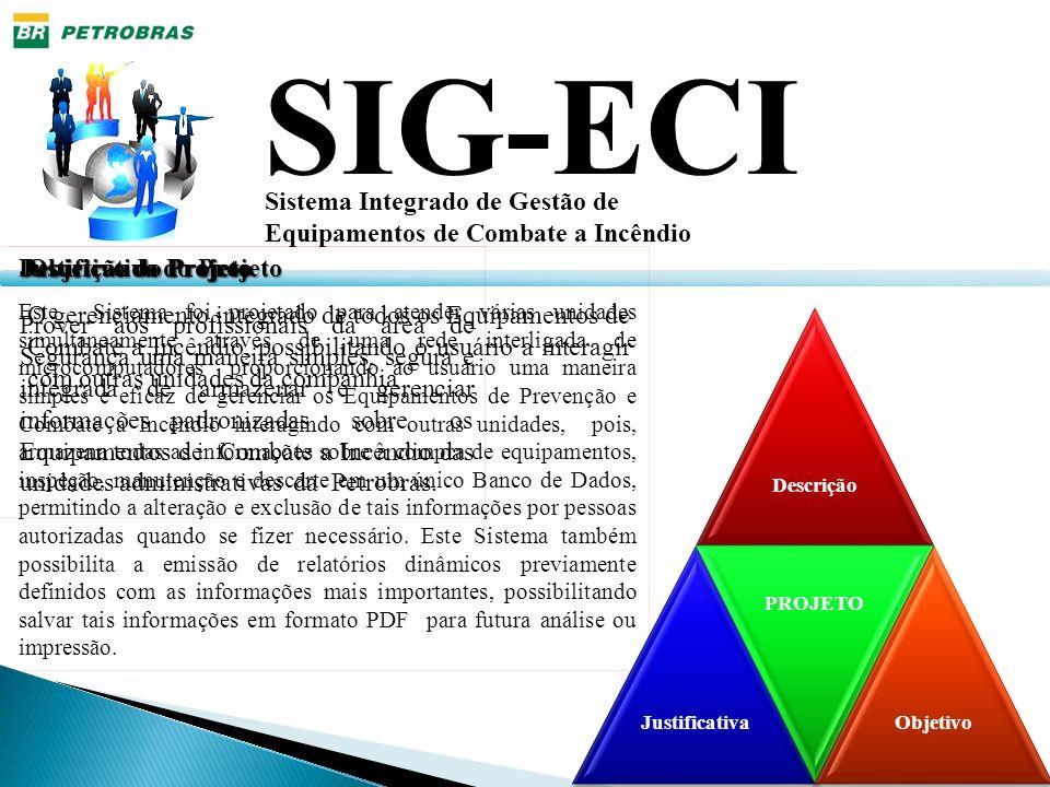 DescriçãoJustificativa PROJETO Objetivo SIG-ECI Sistema Integrado de Gestão de Equipamentos de Combate a Incêndio Descrição do Projeto Este Sistema fo