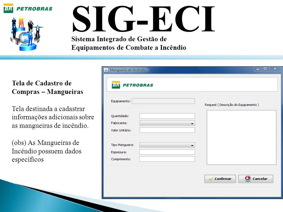 SIG-ECI Sistema Integrado de Gestão de Equipamentos de Combate a Incêndio Tela de Cadastro de Compras – Mangueiras Tela destinada a cadastrar informaç