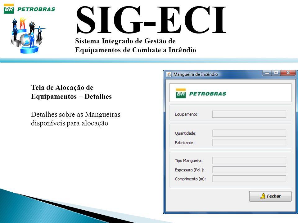 SIG-ECI Sistema Integrado de Gestão de Equipamentos de Combate a Incêndio Tela de Alocação de Equipamentos – Detalhes Detalhes sobre as Mangueiras dis