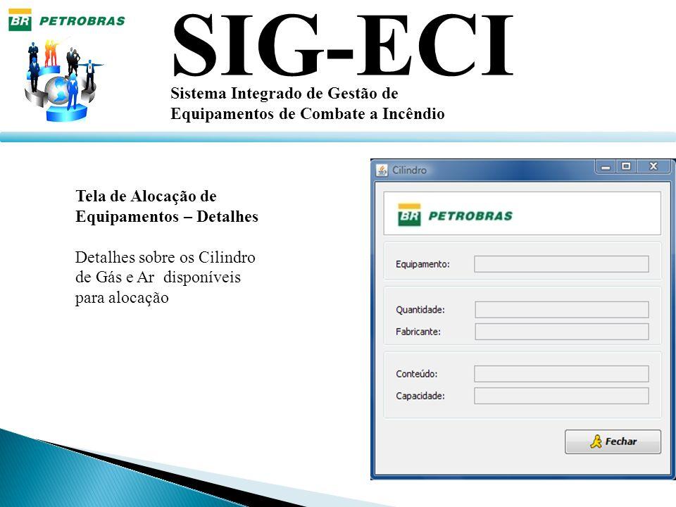 SIG-ECI Sistema Integrado de Gestão de Equipamentos de Combate a Incêndio Tela de Alocação de Equipamentos – Detalhes Detalhes sobre os Cilindro de Gá