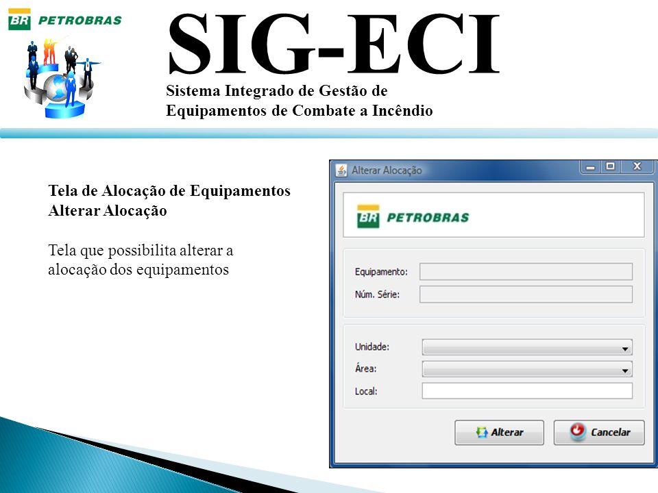 SIG-ECI Sistema Integrado de Gestão de Equipamentos de Combate a Incêndio Tela de Alocação de Equipamentos Alterar Alocação Tela que possibilita alter