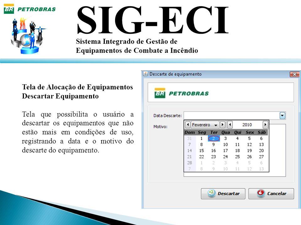 SIG-ECI Sistema Integrado de Gestão de Equipamentos de Combate a Incêndio Tela de Alocação de Equipamentos Descartar Equipamento Tela que possibilita
