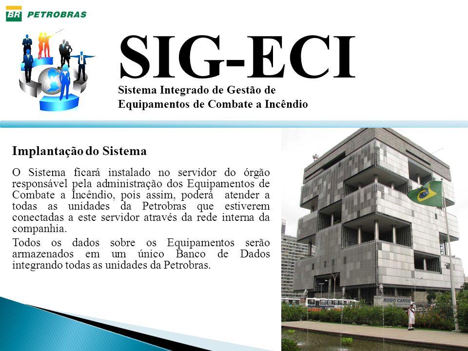 SIG-ECI Sistema Integrado de Gestão de Equipamentos de Combate a Incêndio Tela Principal Tela de gerenciamento do sistema.