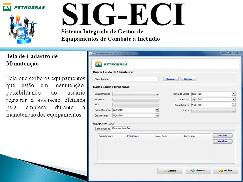 SIG-ECI Sistema Integrado de Gestão de Equipamentos de Combate a Incêndio Tela de Cadastro de Manutenção Tela que exibe os equipamentos que estão em m