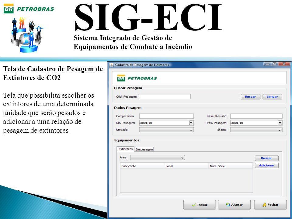 SIG-ECI Sistema Integrado de Gestão de Equipamentos de Combate a Incêndio Tela de Cadastro de Pesagem de Extintores de CO2 Tela que possibilita escolh