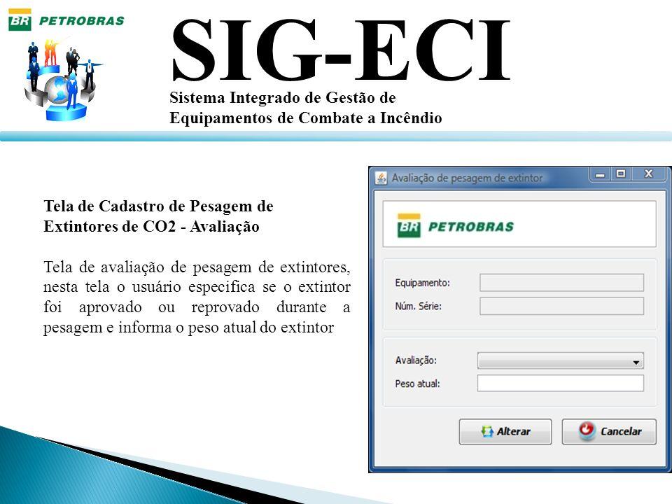 SIG-ECI Sistema Integrado de Gestão de Equipamentos de Combate a Incêndio Tela de Cadastro de Pesagem de Extintores de CO2 - Avaliação Tela de avaliaç