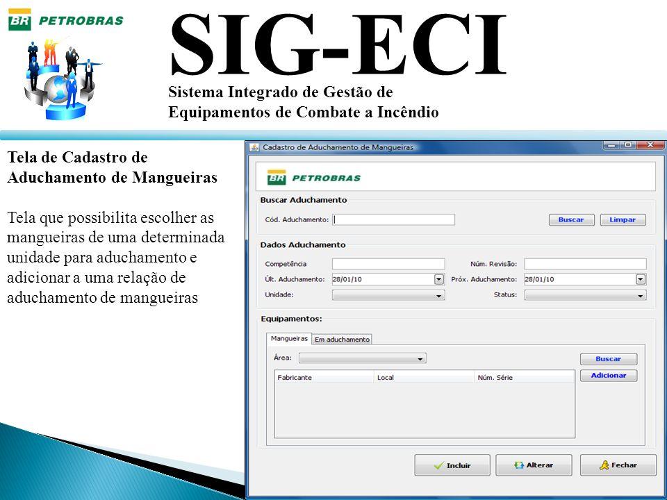 SIG-ECI Sistema Integrado de Gestão de Equipamentos de Combate a Incêndio Tela de Cadastro de Aduchamento de Mangueiras Tela que possibilita escolher