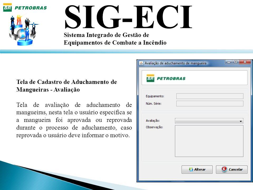 SIG-ECI Sistema Integrado de Gestão de Equipamentos de Combate a Incêndio Tela de Cadastro de Aduchamento de Mangueiras - Avaliação Tela de avaliação