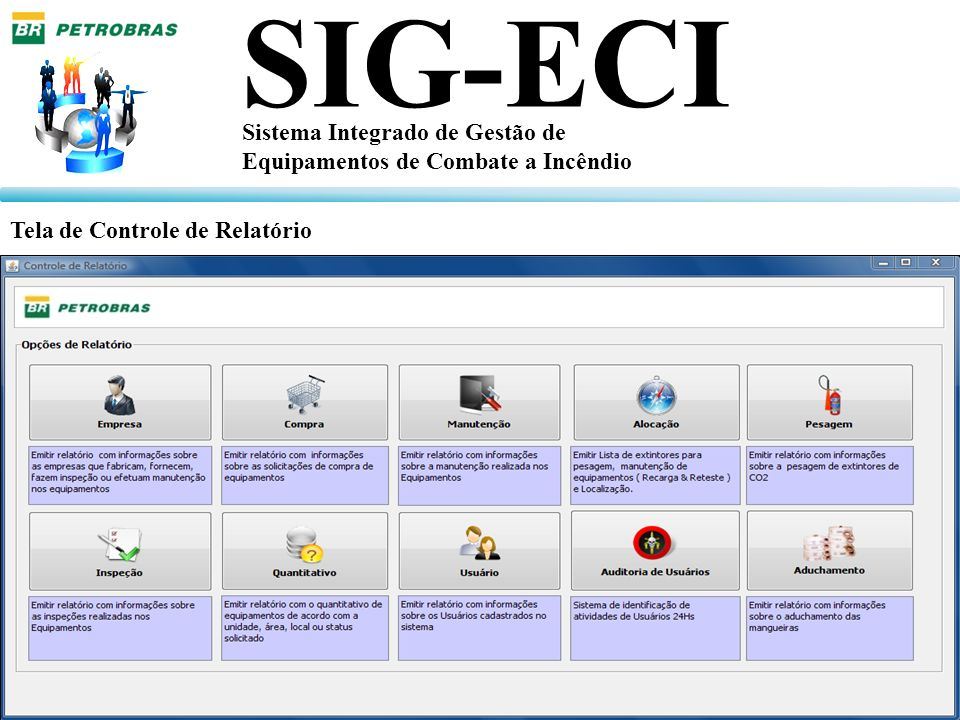 SIG-ECI Sistema Integrado de Gestão de Equipamentos de Combate a Incêndio Tela de Controle de Relatório