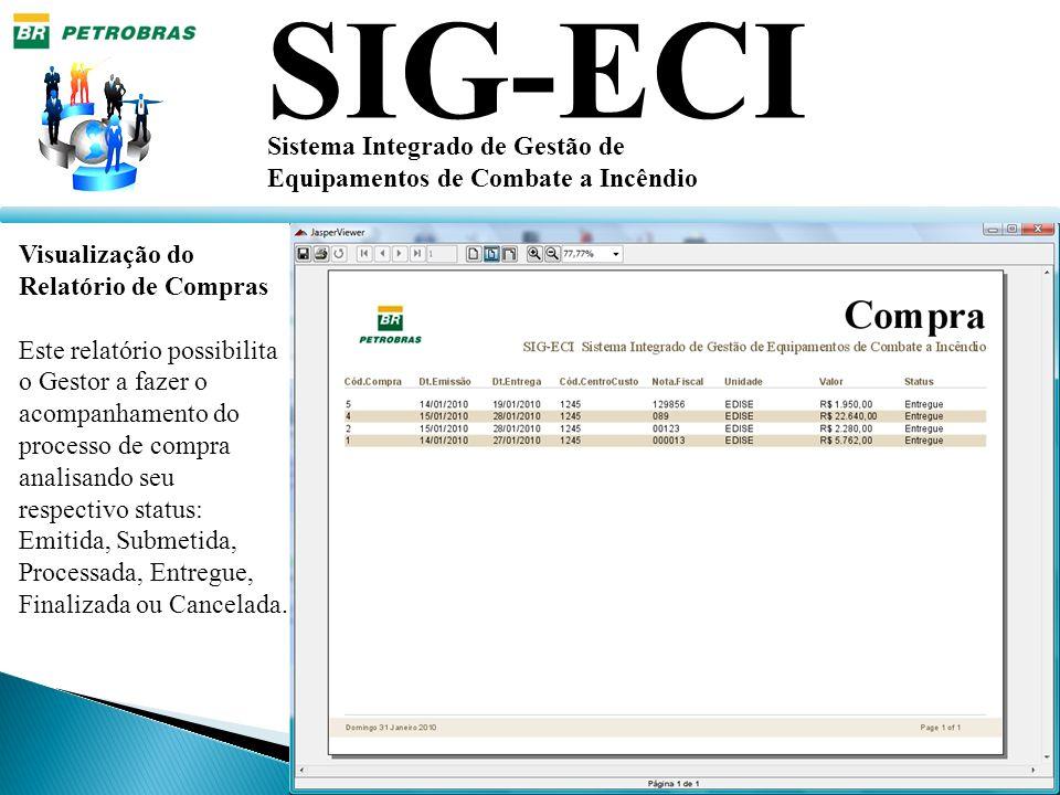 SIG-ECI Sistema Integrado de Gestão de Equipamentos de Combate a Incêndio Visualização do Relatório de Compras Este relatório possibilita o Gestor a f