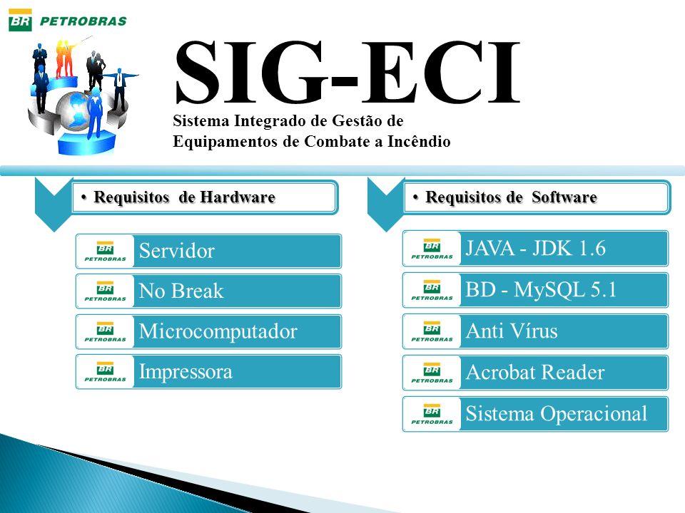 Requisitos de HardwareRequisitos de Hardware Requisitos de SoftwareRequisitos de Software Servidor No Break Microcomputador Impressora JAVA - JDK 1.6