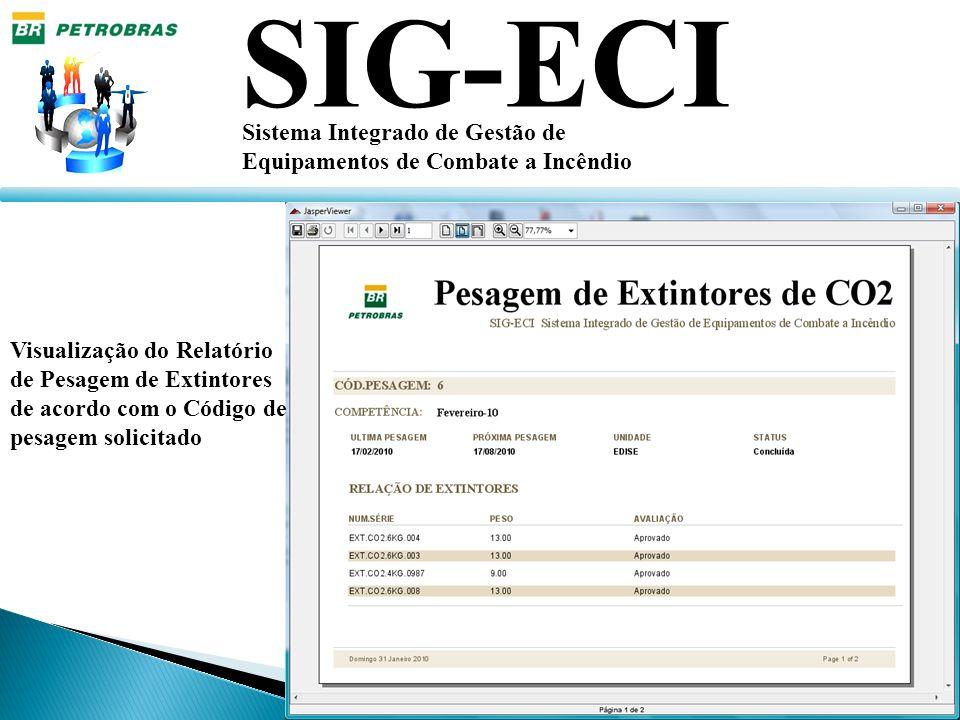 SIG-ECI Sistema Integrado de Gestão de Equipamentos de Combate a Incêndio Visualização do Relatório de Pesagem de Extintores de acordo com o Código de