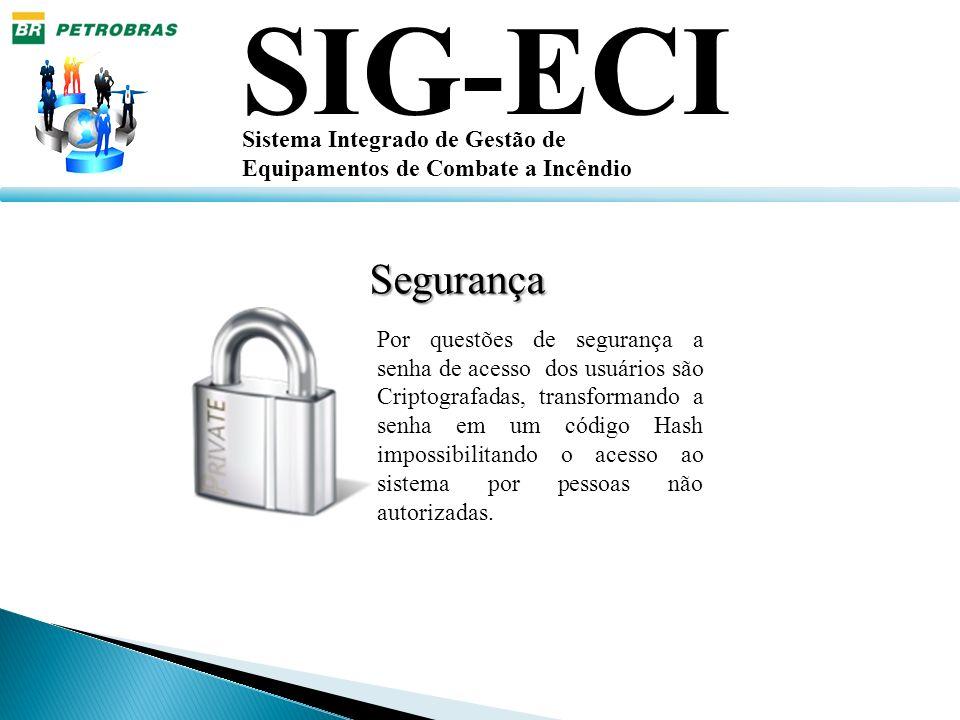 SIG-ECI Sistema Integrado de Gestão de Equipamentos de Combate a Incêndio Por questões de segurança a senha de acesso dos usuários são Criptografadas,