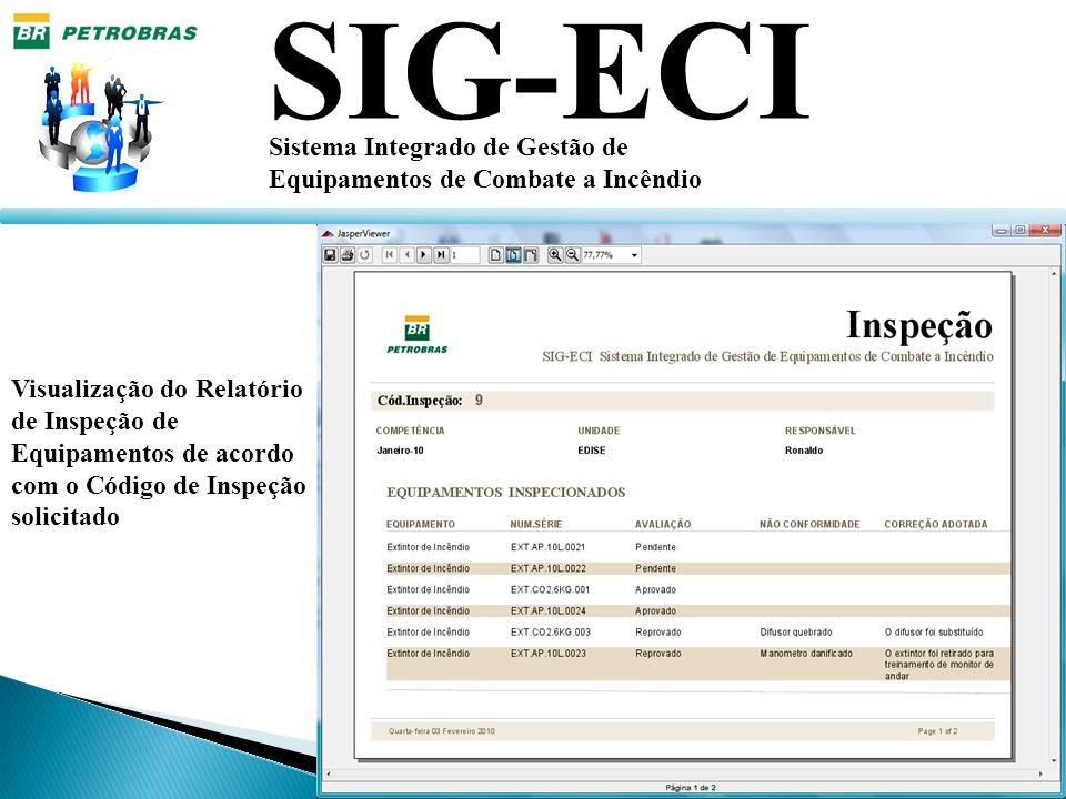 SIG-ECI Sistema Integrado de Gestão de Equipamentos de Combate a Incêndio Visualização do Relatório de Inspeção de Equipamentos de acordo com o Código