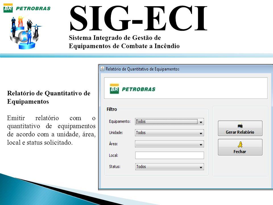 SIG-ECI Sistema Integrado de Gestão de Equipamentos de Combate a Incêndio Relatório de Quantitativo de Equipamentos Emitir relatório com o quantitativ