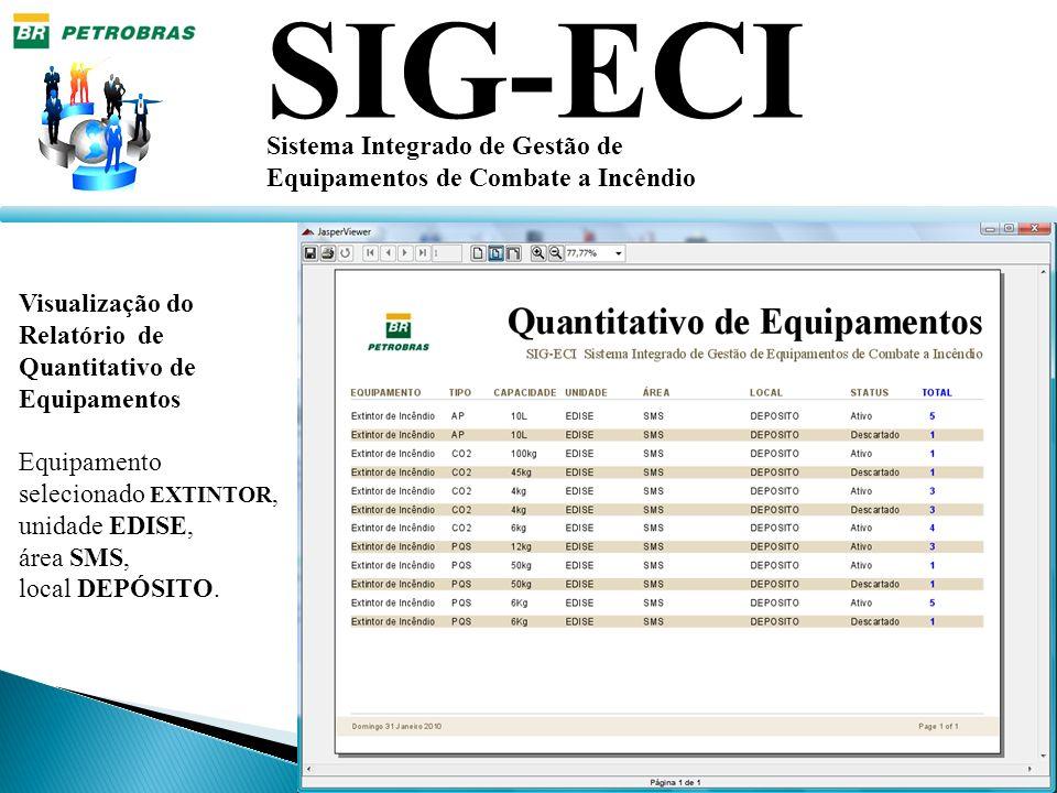 SIG-ECI Sistema Integrado de Gestão de Equipamentos de Combate a Incêndio Visualização do Relatório de Quantitativo de Equipamentos Equipamento seleci