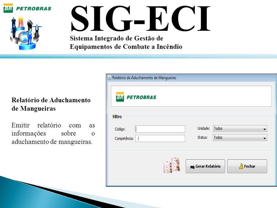 SIG-ECI Sistema Integrado de Gestão de Equipamentos de Combate a Incêndio Relatório de Aduchamento de Mangueiras Emitir relatório com as informações s