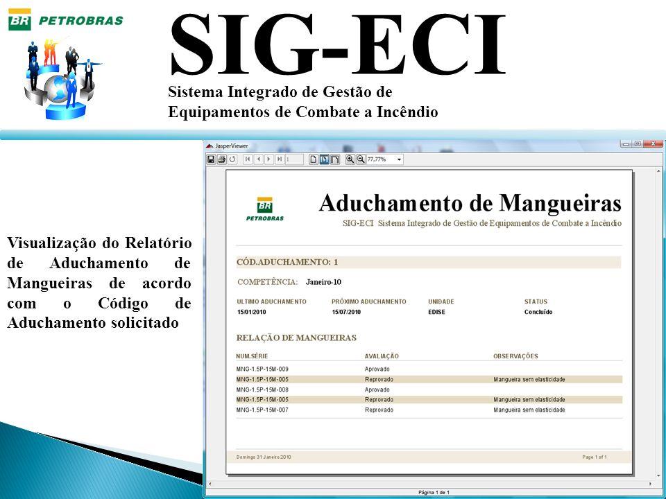 SIG-ECI Sistema Integrado de Gestão de Equipamentos de Combate a Incêndio Visualização do Relatório de Aduchamento de Mangueiras de acordo com o Códig