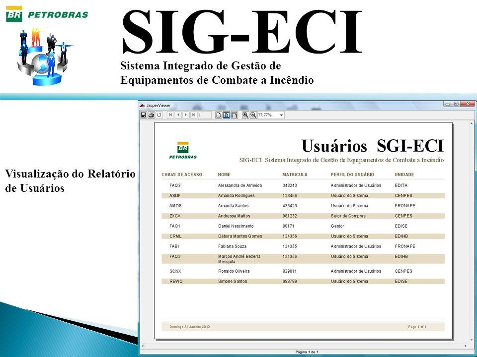 SIG-ECI Sistema Integrado de Gestão de Equipamentos de Combate a Incêndio Visualização do Relatório de Usuários