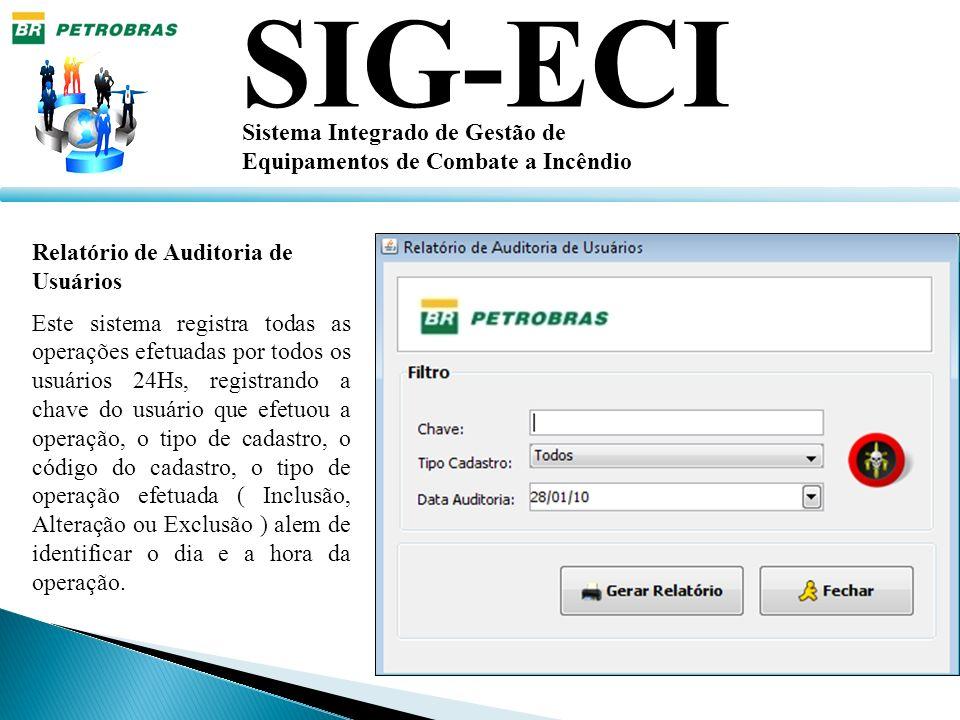 SIG-ECI Sistema Integrado de Gestão de Equipamentos de Combate a Incêndio Relatório de Auditoria de Usuários Este sistema registra todas as operações