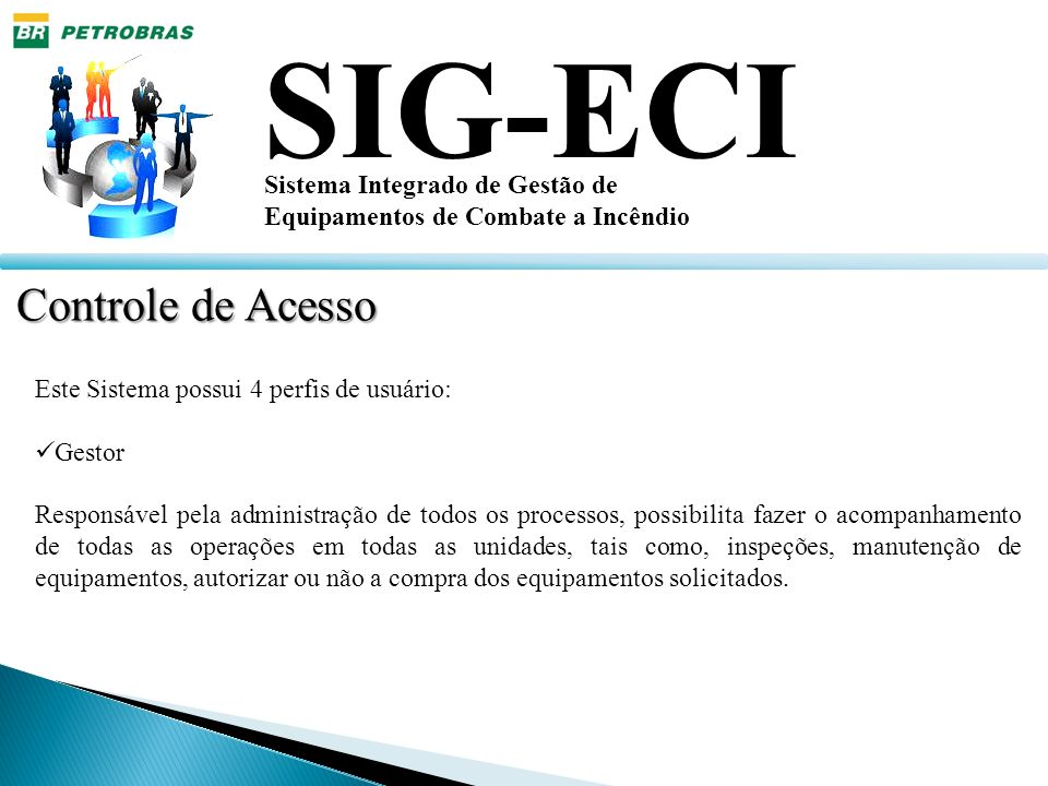 SIG-ECI Sistema Integrado de Gestão de Equipamentos de Combate a Incêndio Controle de Acesso Este Sistema possui 4 perfis de usuário: Gestor Responsáv