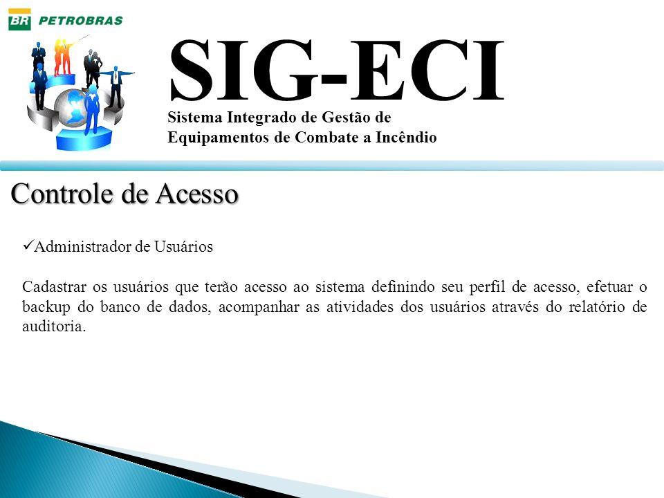 SIG-ECI Sistema Integrado de Gestão de Equipamentos de Combate a Incêndio Tela de Cadastro de Inspeção Tela que exibe os equipamentos em inspeção e possibilita efetuar a avaliação dos equipamentos