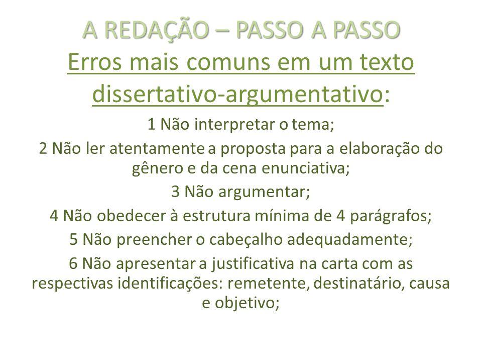 A REDAÇÃO – PASSO A PASSO A REDAÇÃO – PASSO A PASSO Erros mais comuns em um texto dissertativo-argumentativo: 1 Não interpretar o tema; 2 Não ler aten