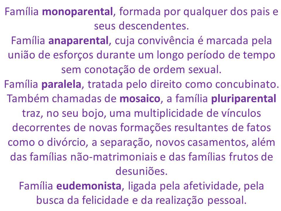 Família monoparental, formada por qualquer dos pais e seus descendentes. Família anaparental, cuja convivência é marcada pela união de esforços durant