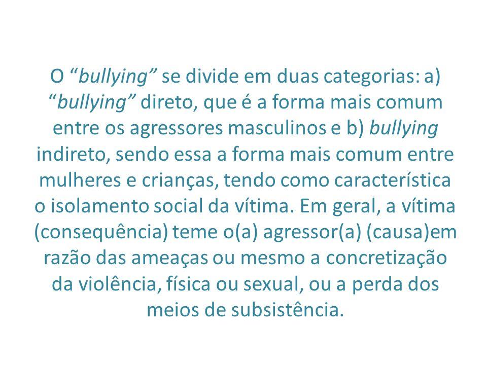 O bullying se divide em duas categorias: a)bullying direto, que é a forma mais comum entre os agressores masculinos e b) bullying indireto, sendo essa a forma mais comum entre mulheres e crianças, tendo como característica o isolamento social da vítima.